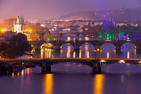 Famous Bridges of Prague in the Evening Photo