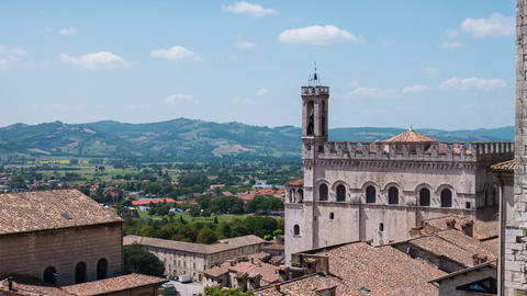 Timelapse of Gubbio and the surrounding hills, Umbria, Italy Footage