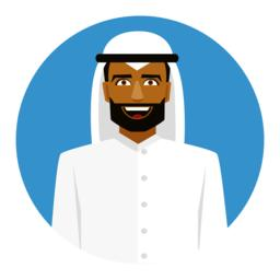 Round icon with smiling arab man in traditional muslim hat Vector