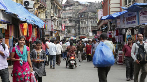 Indian street at Bhuleshwar Market Footage