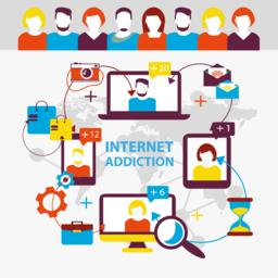 Internet addiction. Group of people use smartphone, notebook and Vector