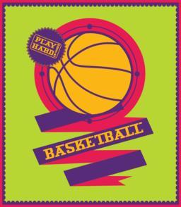 Basketball emblem with ribbon. Sports logo Vektor