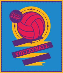 Volleyball emblem with ribbon. Sports logo Vector