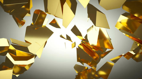 Golden wall shatter as financial crisis or decline concept. slow motion Animation