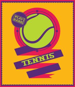Tennis emblem with ribbon. Sports logo ベクター