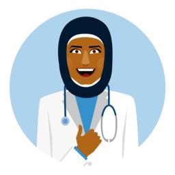 Round emblem with smiling arab female doctor Vektor