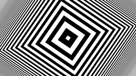 Hypnotic Rhythmic Movement Black And White stripes. Seamless loop Animation