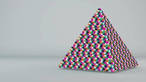 Abstract background with futuristic colorful pyramide. Seamless loop Animation