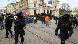 March of radical extremists, suppression of democracy, against European Union Footage