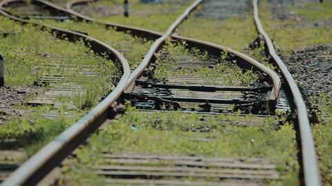 Railroad switch at old railroad tracks Filmmaterial