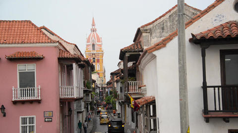 Cartagena Cathedral and Street Footage