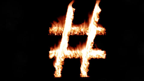 Hashtag hash tag hot text brand branding iron metal flaming heat flames 4K Live Action