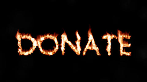 Donate hot text brand branding iron donation metal flaming heat flames 4K Live Action