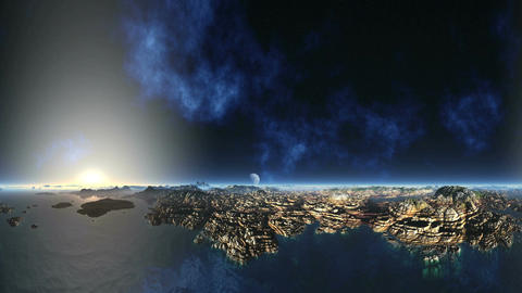 Huge Nebula and Alien Planet Animation