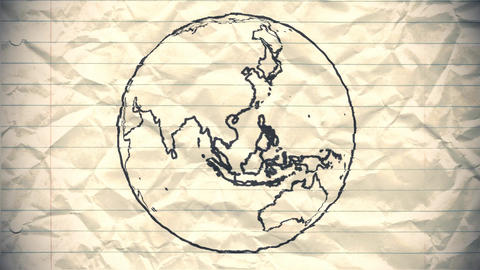 Earth drawing paper cartoon hand drawn animation spinning globe world pen loop Footage