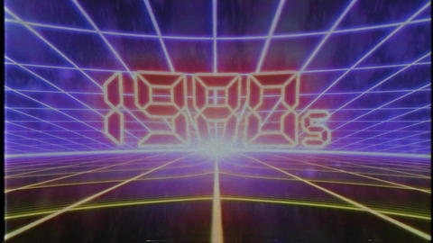 Retro 80s VHS tape video game intro landscape vector arcade wireframe 4k Footage