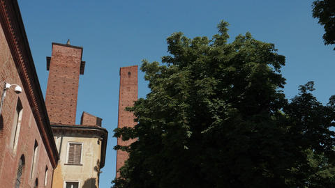 Medieval towers in the University and some trees in Pavia, PV, Italy Footage