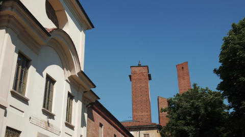 University palace and towers in Pavia, Italy Footage