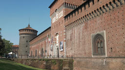 Milan sforza castle entrance, tower and walls, tilt shot Footage