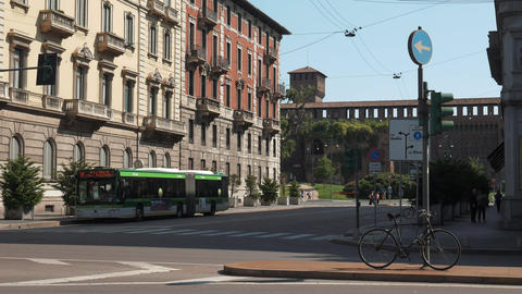Abandoned bike, bus and castle in Milan Cadorna Footage