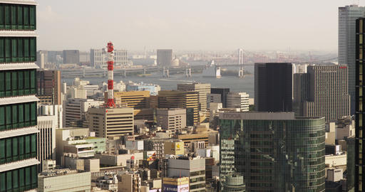 View of Hi Rise Buildings of Central Tokyo and Rainbow Bridge Live Action