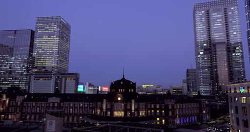 Night View of Tokyo Station with Office Buildings in Nihonbashi Footage