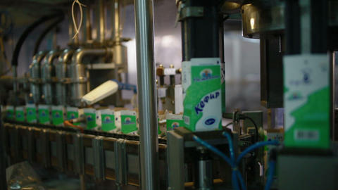 Manufacture and package of milk products Footage