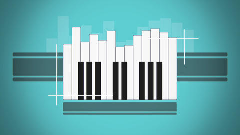 Flat animation piano keyboard like abstract sound level Animation