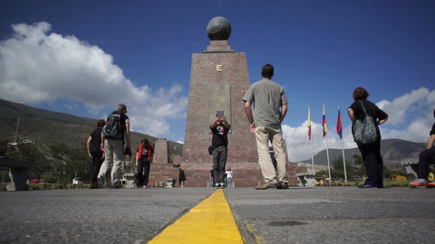 Mitad Del Mundo Monument Low Angle Footage