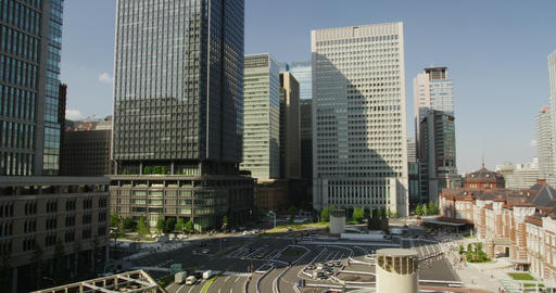 Day View of Office Buildings front of Tokyo Station Footage