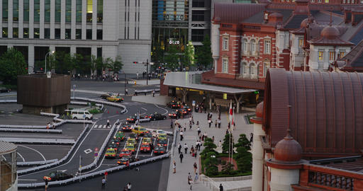 Taxis waiting for Passengers in front of Tokyo Station Footage