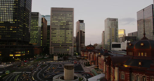 Elevated View of the newly Renovated Tokyo Station and Hi Rise Buildings Footage
