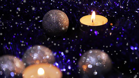 Christmas New Year candle blue sparkling snow 5 Footage