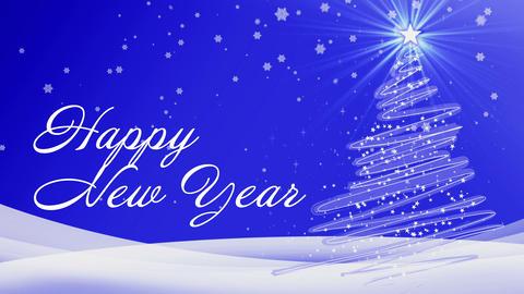 happy new year blue snow Animation