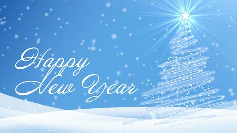 happy new year light blue snow Animation