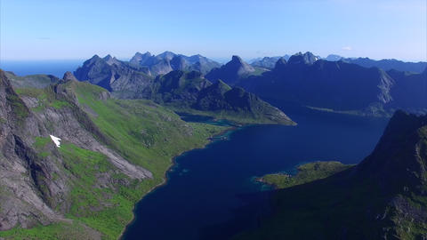 Beautiful Lofoten island chain in Norway, aerial footage Footage