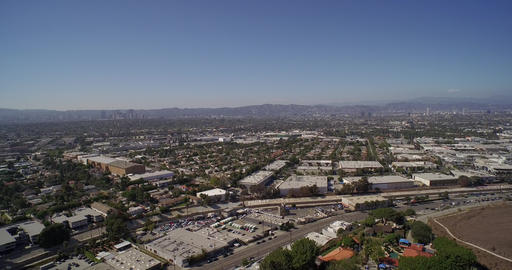 Panoramic aerial view of city of Los Angeles and West Hollywood Footage