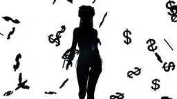 fashion model goes in falling money on a white background Animation