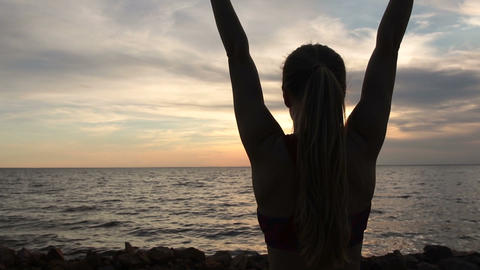 Life achievement, woman with arms up in success Stock Video Footage