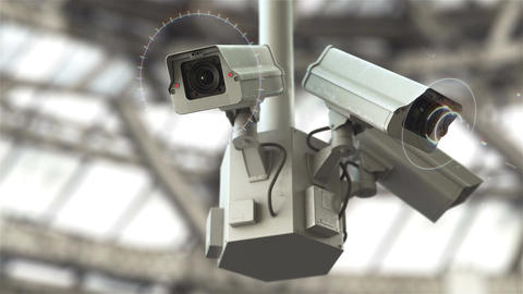 Futuristic security cameras in 4K Animation