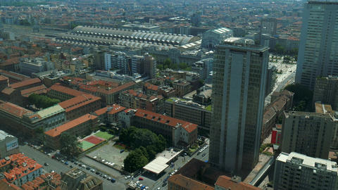 Milan aerial view of Central Station and Pirellone skyscraper Footage