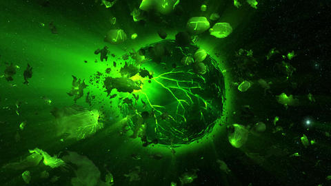 Green Outer Space Lava Planet with Asteroids and Stars Environment Scene Backgro Animation