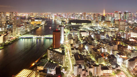 Night Time Lapse Tokyo Japan Ctyscape Footage