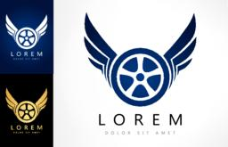 Wings and tire logo Vector