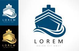 Ship on the sea vector. Ship and wave logo. Sea boat ベクター
