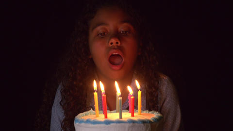 Blowing Out The Candles On A Birthday Cake Footage