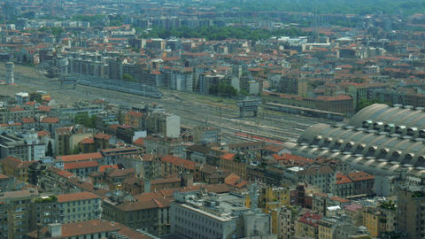 Aerial view of Central Station in Milan Footage