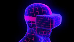 VR virtual reality headset hologram futuristic animation hmd game tech loop 4k Footage