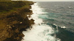 Aerial view of the cliffs and wave. Philippines,Siargao Footage