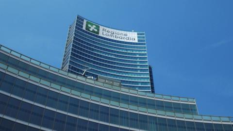 Milan, Italy - May 2016: Palazzo Lombardia skyscraper on a sunny day Footage